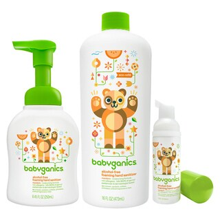 Babyganics Foam Hand Sanitizer with Refill Bottle & On The Go Set, Tangerine