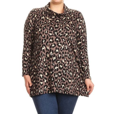 Women's Plus Size Leopard Pattern Cowl Neck Top