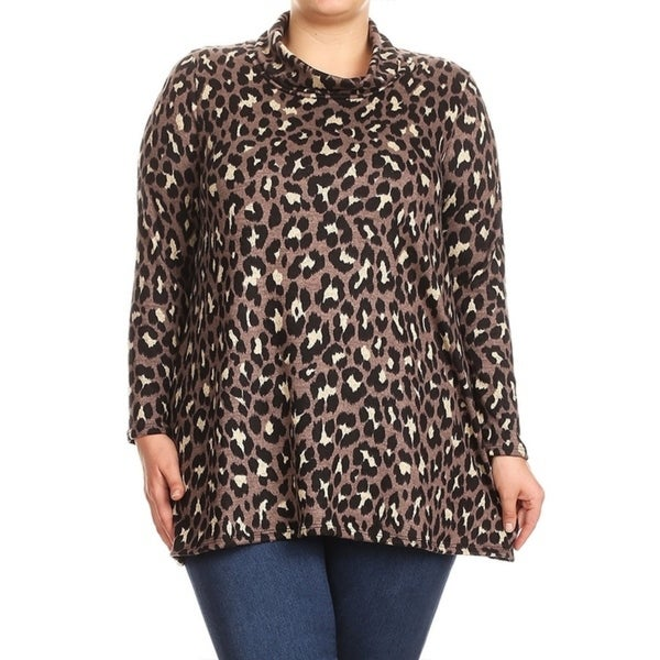Women's Plus Size Leopard Pattern Cowl Neck Top
