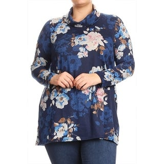 Women's Floral Pattern Cowl Neck Tunic Top (More options available)