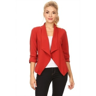 Women's Solid Color Blazer Style Draped Jacket (3 options available)