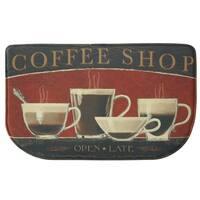 "Printed memory foam Coffee Shop kitchen rug by Bacova - Black/Red - 1'6"" x 2'6"""