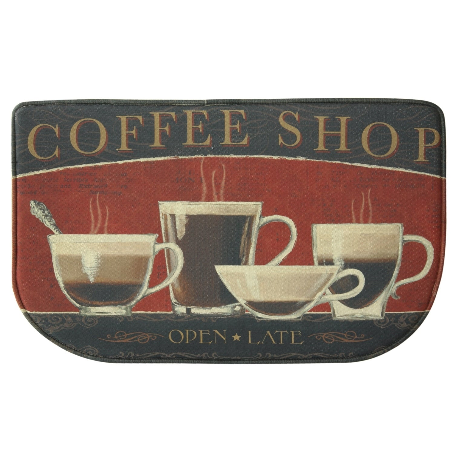 Printed Memory Foam Coffee Shop Kitchen Rug By Bacova Black Red 1 6 X 2 6