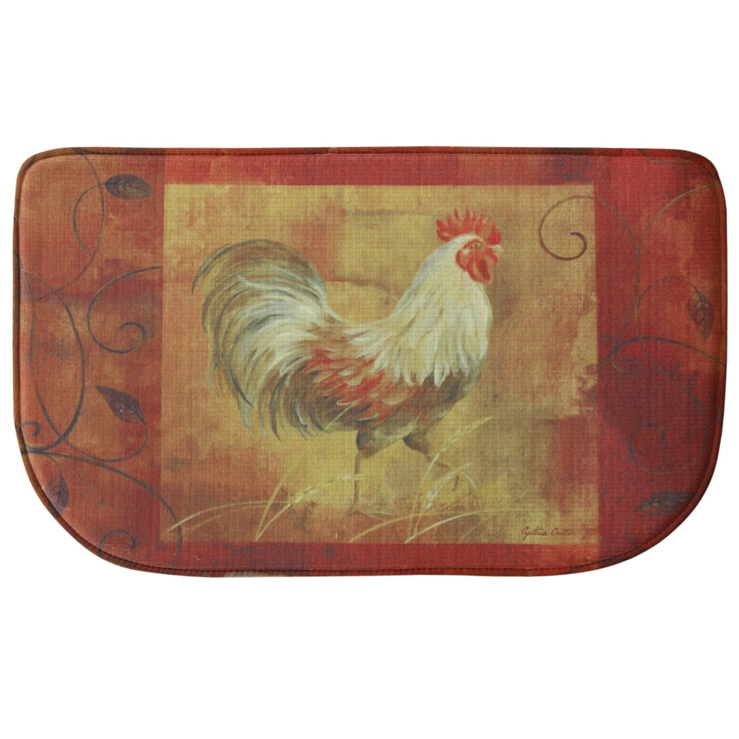 Printed memory foam Rooster & Leaves kitchen rug by Bacov...