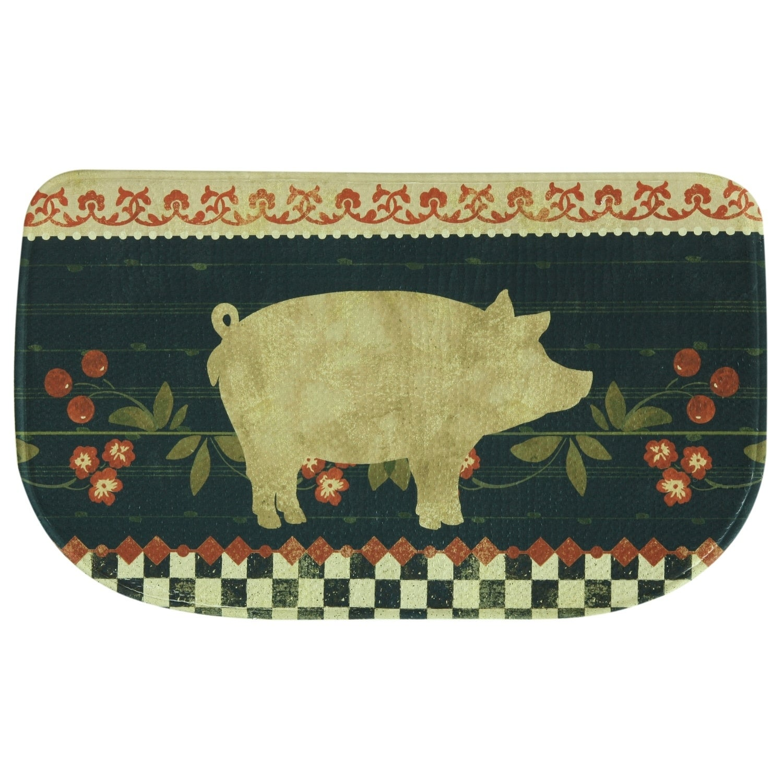 Printed memory foam Retro Pig kitchen rug by Bacova - 1'6...