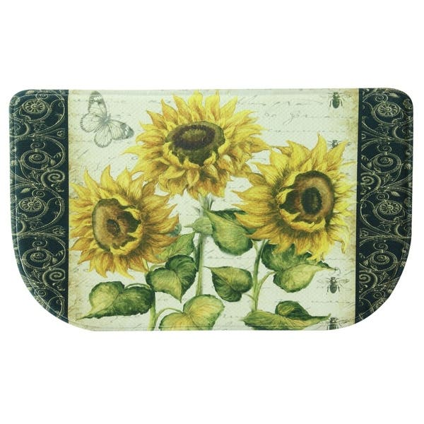 Printed Memory Foam French Sunflower Kitchen Runner By