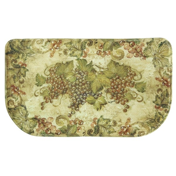 "Printed memory foam Antique Grapes kitchen rug by Bacova - Green/Ivory - 1'6"" x 2'6"""