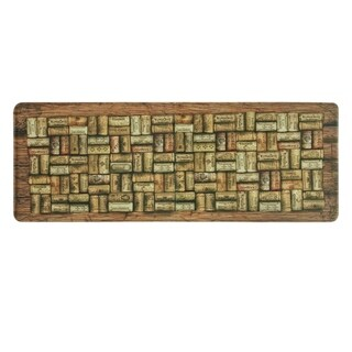 "Printed memory foam Wine Corks kitchen runner by Bacova - Beige/Light Brown - 1'11"" x 3'11"""