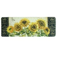 "Printed memory foam French Sunflower kitchen runner by Bacova - Yellow/Green - 1'11"" x 3'11"""
