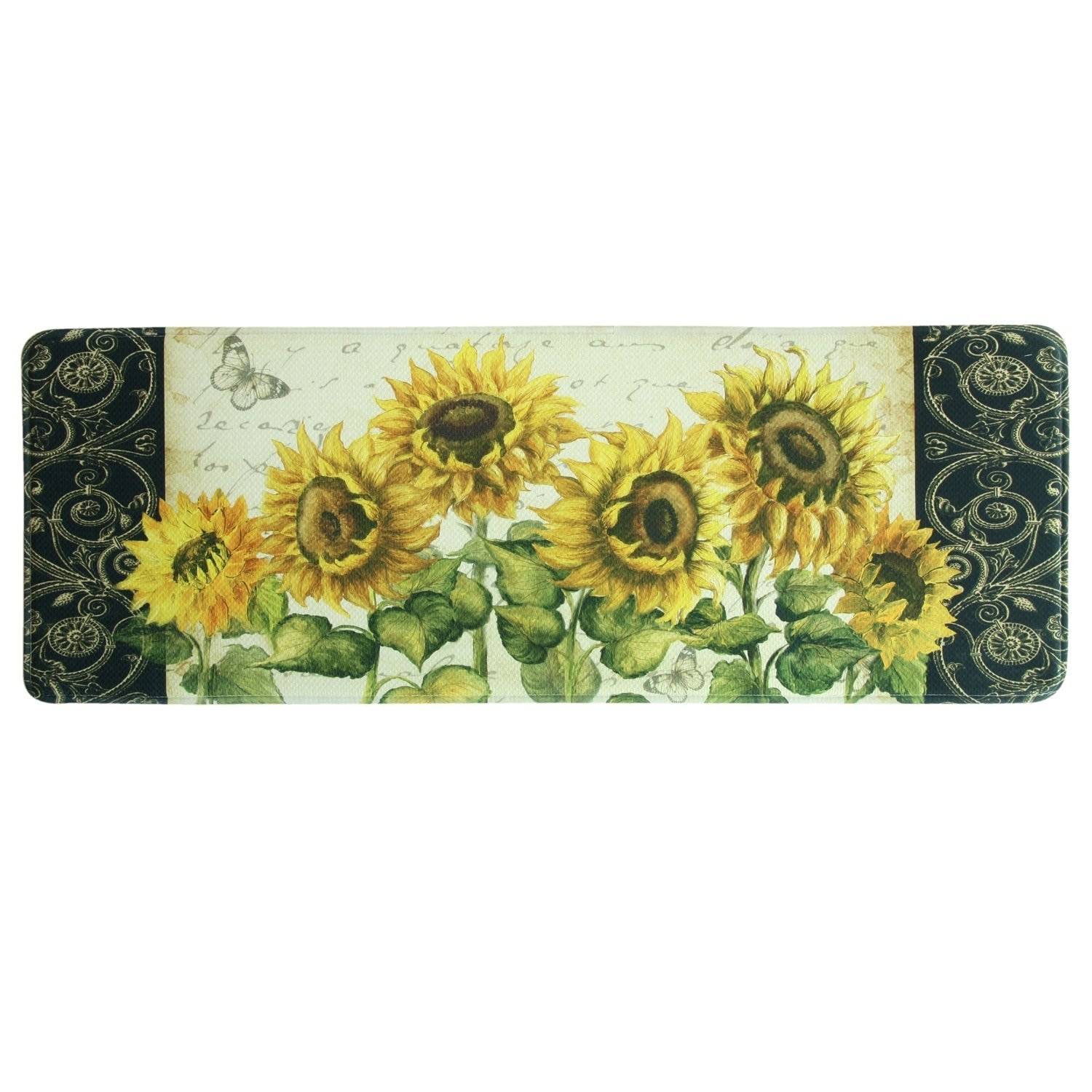 Printed Memory Foam French Sunflower Kitchen Runner By Bacova