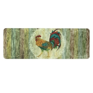 "Printed memory foam Rooster Strut kitchen runner by Bacova - 1'11"" x 3'11"""