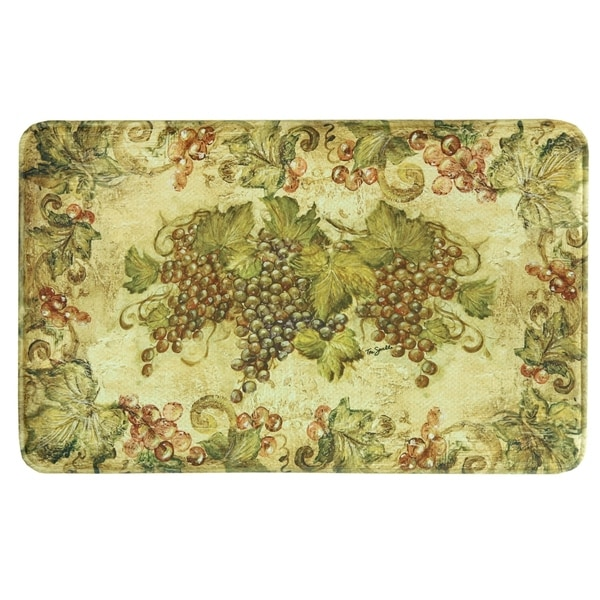 Shop Printed Memory Foam Antique Grapes Kitchen Rug By