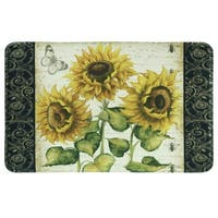 """Printed memory foam French Sunflower kitchen rug by Bacova - 1'10"""" x 2'11"""""""