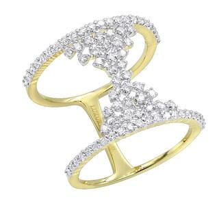 Luxurman Unique 14K Gold Designer Diamond Cocktail Ring for Women 0.75ct