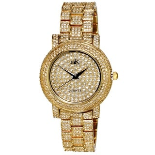 Adee Kaye Womens Crystal Adorned Watch-Gold tone