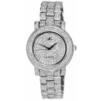 Adee Kaye Womens Crystal Adorned Watch-Silver tone