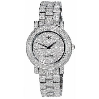 Adee Kaye Womens Crystal Adorned Watch-Silver tone