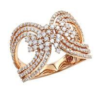 Luxurman Designer 14K Gold Ladies Diamond Cocktail Ring 1 carat