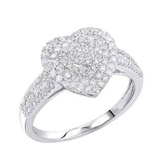 Luxurman 14K Gold Heart Diamond Ring for Women Cluster Setting 0.8ct|https://ak1.ostkcdn.com/images/products/18505798/P24618437.jpg?impolicy=medium