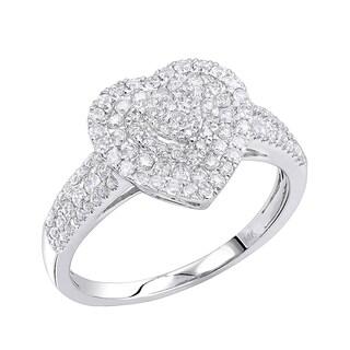 Luxurman 14K Gold Heart Diamond Ring for Women Cluster Setting 0.8ct