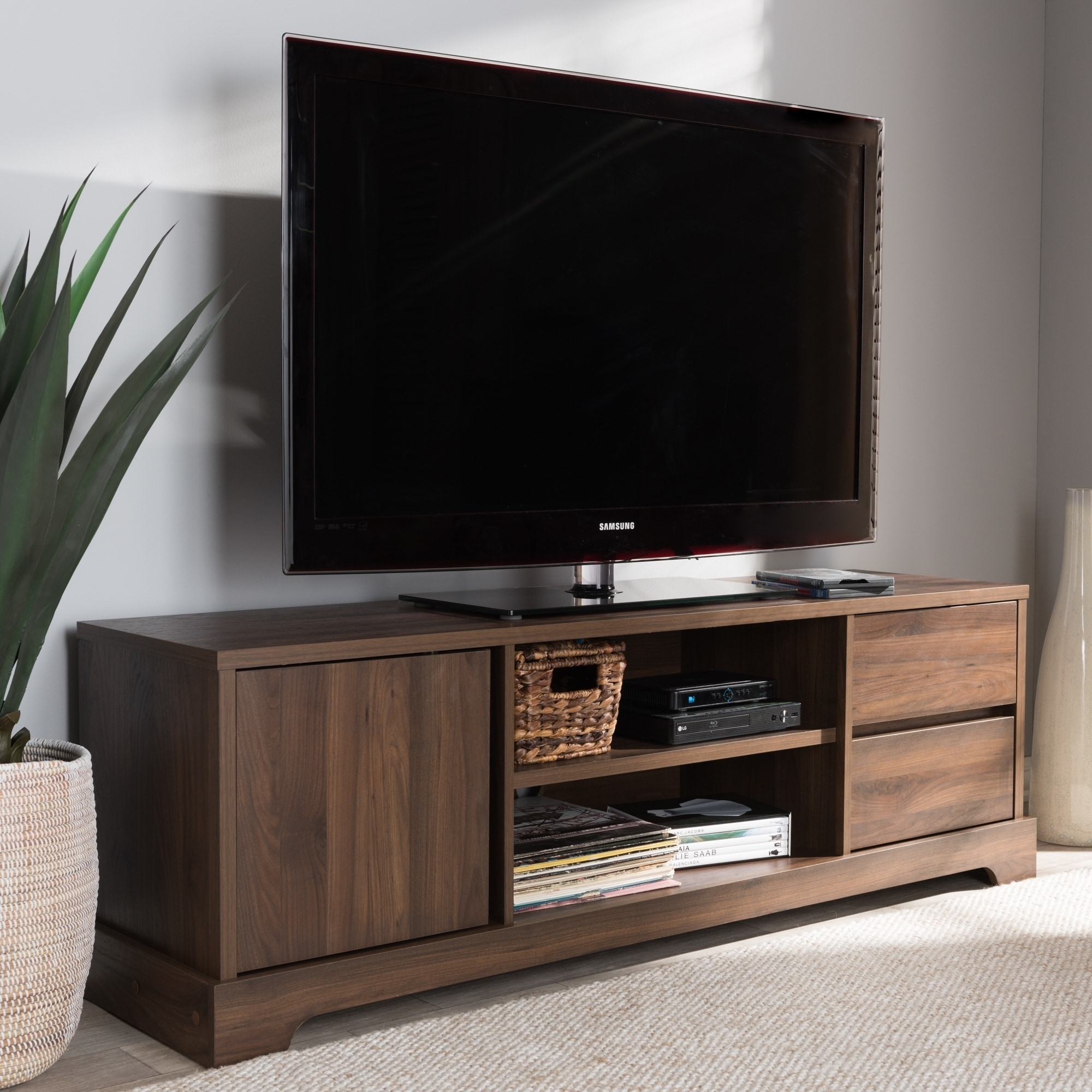 . Contemporary Walnut Brown Finished Wood TV Stand by Baxton Studio