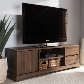 Contemporary Walnut Brown Finished Wood TV Stand by Baxton Studio