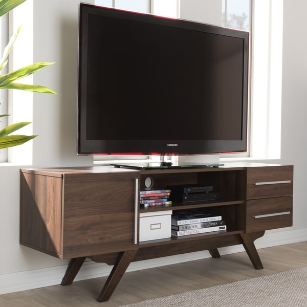midcentury walnut brown finished wood tv stand by baxton studio
