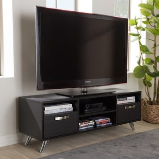 Contemporary Dark Brown Finished Wood TV Stand by Baxton Studio