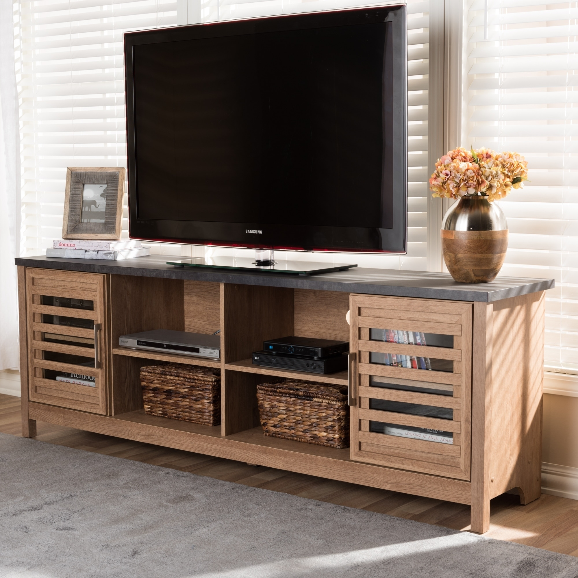 contemporary light brown and grey finished tv stand by baxton studio - Light Colored Tv Stands