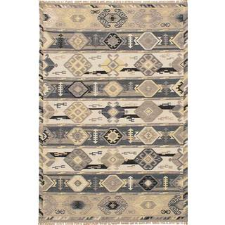 eCarpetGallery Esme Kilim Grey/Ivory Wool Flat-woven Rug (5' x 8')