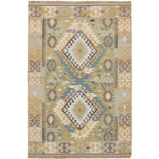 eCarpetGallery Esme 102 Kilim Brown/Green Wool Flat-woven Rug (5' x 8')