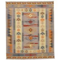 eCarpetGallery Esme Grey Wool Flatweave Kilim Rug - 8' x 10'