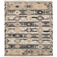eCarpetGallery Esme Grey/Ivory Wool Flatweave Kilim - 8' x 10'