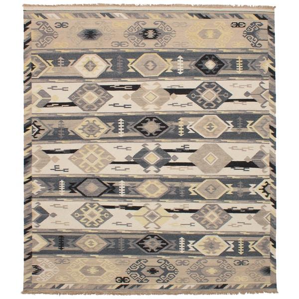 eCarpetGallery Esme Grey/Ivory Wool Flatweave Kilim Rug - 8' x 10'
