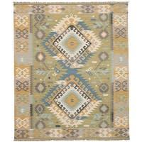 eCarpetGallery Esme Brown/Green Wool Flatweave Kilim Rug - 8' x 10'