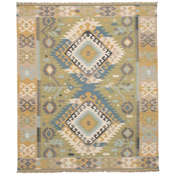eCarpetGallery Esme Brown/Green Wool Flatweave Kilim Rug (8' x 10')
