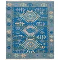 eCarpetGallery Flatweave Esme 108 Blue Wool Kilim Rug
