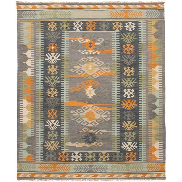 eCarpetGallery Esme Blue/Grey Wool Flatweave Kilim Rug - 8' x 10'