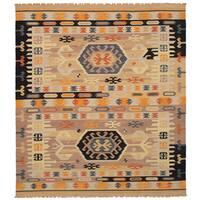 eCarpetGallery Esme Brown Wool Flatweave Kilim Rug - 8' x 10'