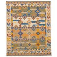 eCarpetGallery Esme Ivory Wool Flatweave Kilim Rug - 8' x 10'