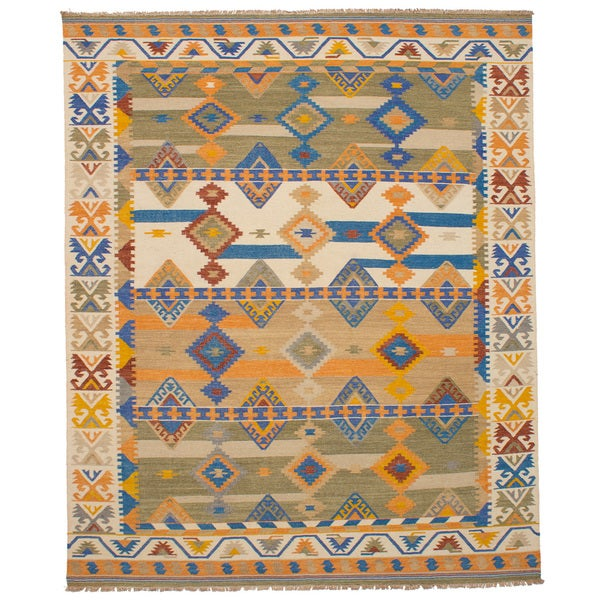 eCarpetGallery Esme Ivory Wool Flatweave Kilim - 8' x 10'