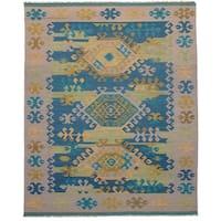 eCarpetGallery Esme Green Wool Flatweave Kilim Rug (8' x 10')