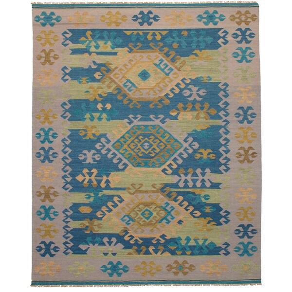 eCarpetGallery Esme Green Wool Flatweave Kilim Rug - 8' x 10'