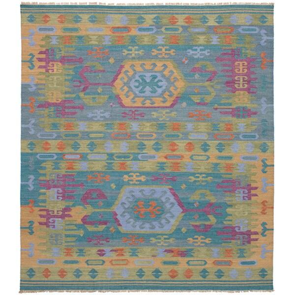 eCarpetGallery Esme Green Wool Flatweave Kilim Rug - 8 x 10