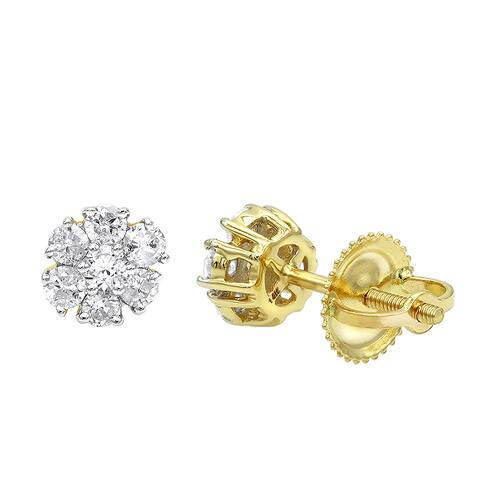 Luxurman 2 Carat Look 14K Gold Cluster Diamond Stud Earrings for Women 1/2ct