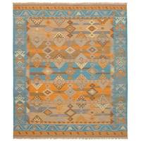 eCarpetGallery Esme Green/Orange Wool Flatweave Kilim Rug - 8' x 10'