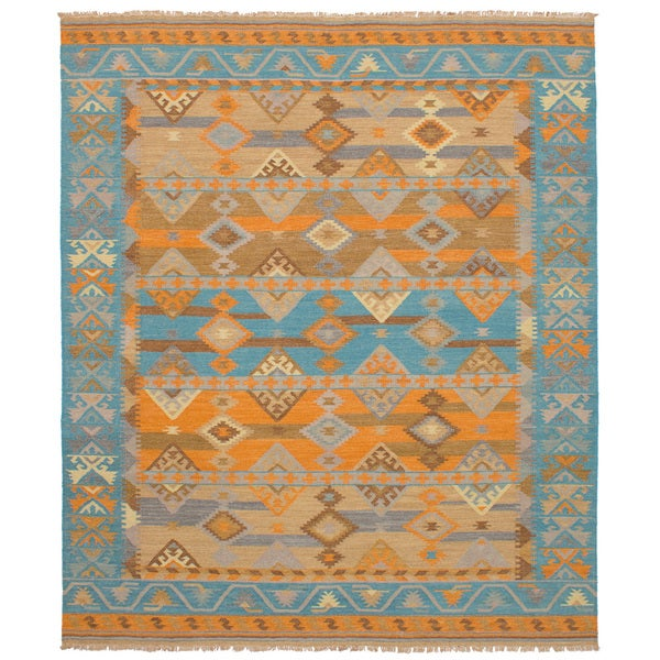 Shop ECarpetGallery Esme Green/Orange Wool Flatweave Kilim