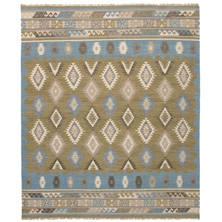 eCarpetGallery Esme Blue/Green Wool Flatweave Kilim (8' x 10')