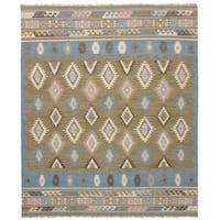 eCarpetGallery Esme Blue/Green Wool Flatweave Kilim Rug