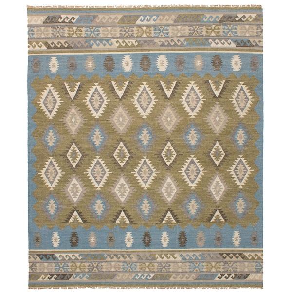 eCarpetGallery Esme Blue/Green Wool Flatweave Kilim Rug - 8' x 10'